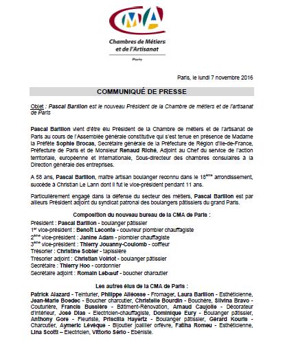 Election de Pascal Barillon : nouveau président de la CMA de Paris