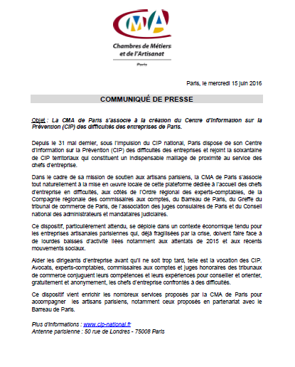 Information : La CMA de Paris s'associe avec la CIP