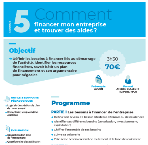 Module n°5 : Comment financer mon entreprise et trouver des aides ?