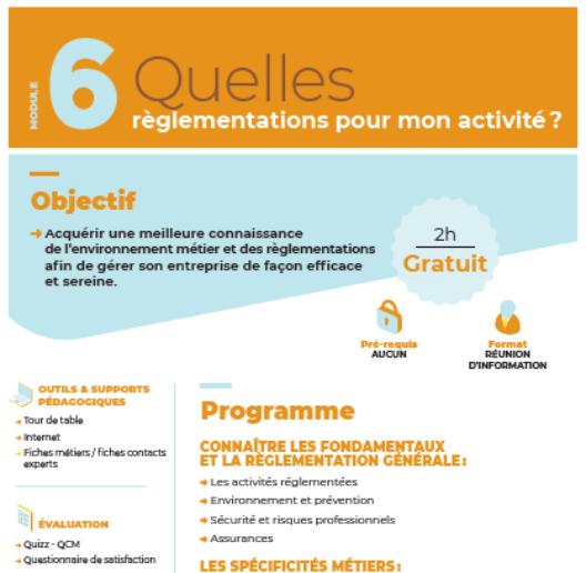 Module n°6 : Quelles sont les réglementations de mon activité ?