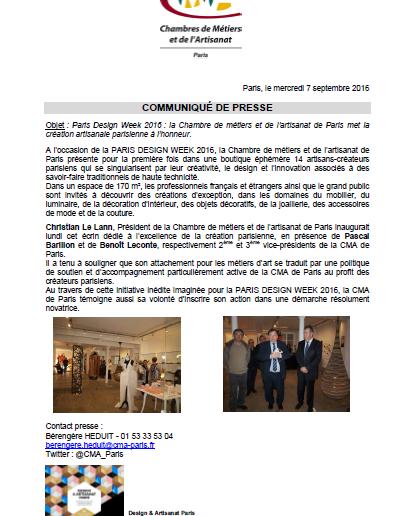 Paris Design Week 2016 : boutique éphémère