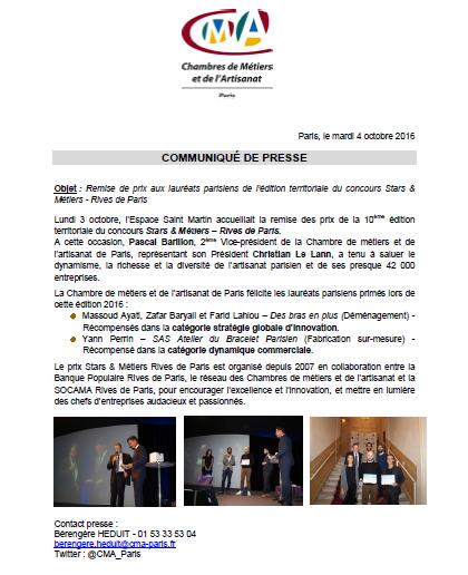 Remise de prix Stars et Métiers Rives de Paris 2016