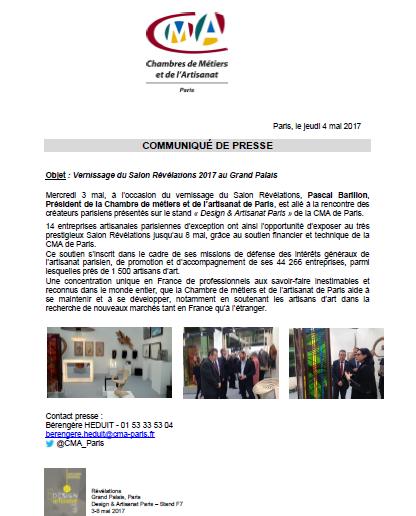 Information : Révélation et Vernissage au Grand Palais