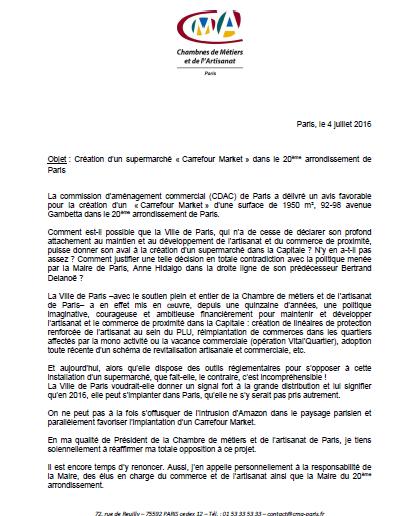 Information création d'un Carrefour Market Paris Xxe