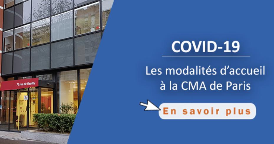 Covid-19 : les modalités d'accueil à la CMA de Paris