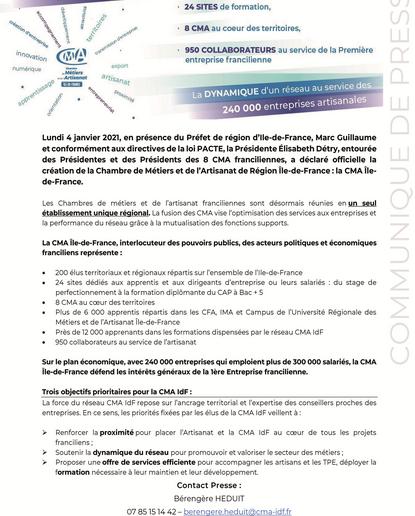 Un nouvel établissement unique régional - CMA Ile-de-France