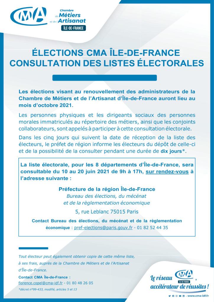 Affiche élection CMA IdF