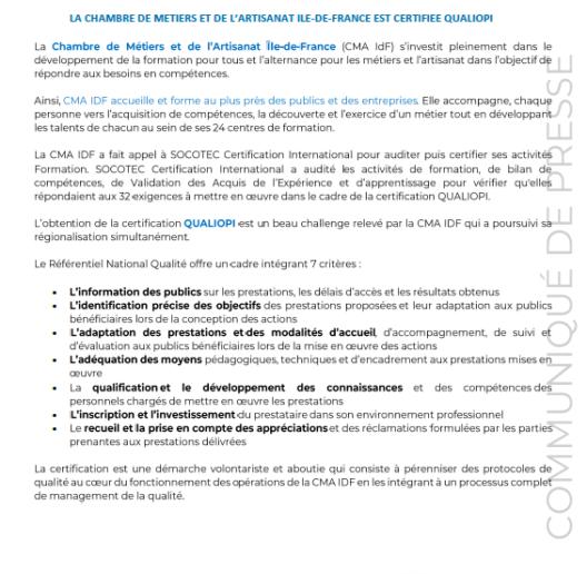 La Chambre de métiers et de l'artisanat Ile-de-France est certifiée Qualiopi