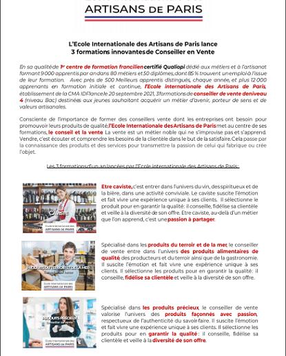 L'Ecole internationale des artisans de Paris lance 3 formations innovates de Conseiller en Vente